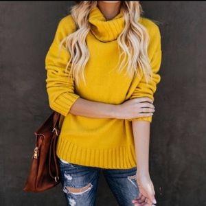 Brand New Cozy Mustard Turtleneck Henry Sweater